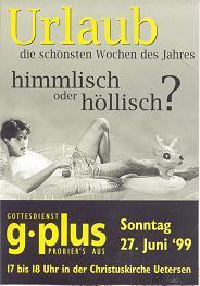Ein g-plus-Flyer aus dem Jahr 1999