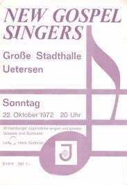 Der Einladungs-Flyer zum Gospelkonzert 1972 in der großen Stadthalle
